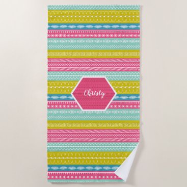 Beach Themed Super cool colorful patterned stripes with name beach towel