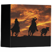 Super Cool Cowboys Roping Country Western 3 Ring Binder