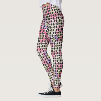 Super cool criss cross colorful diamond weave leggings