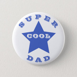 SUPER COOL DAD Father's Day  Navy Blue Star Button