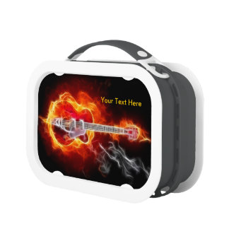 Super Cool Electric Guitar In Flames Lunch Box No2