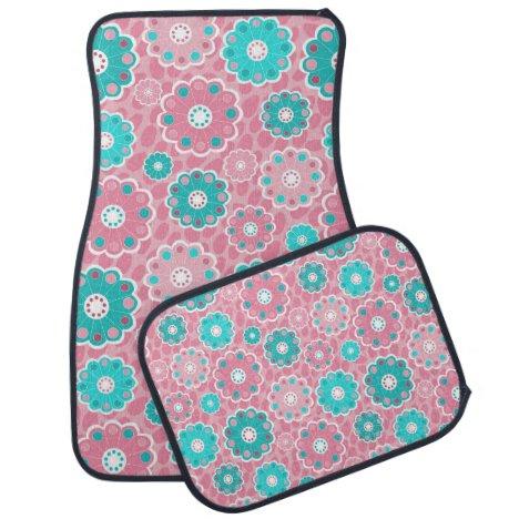 Super cool funky pink & aqua floral car floor mat