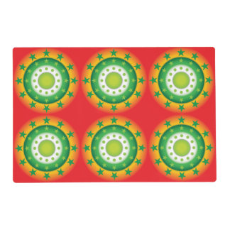 Super cool green circular star patterns placemats