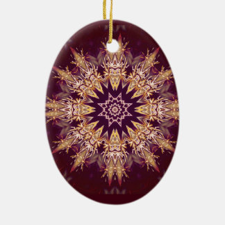 Super Cool japanese cherry red fish scale Gifts Double-Sided Oval Ceramic Christmas Ornament