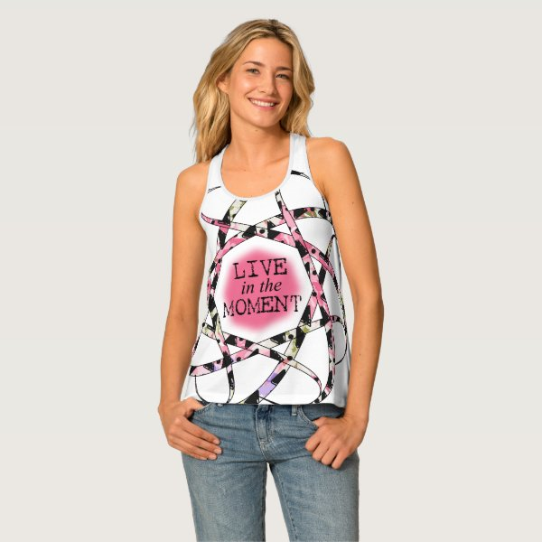 Super cool Live in the Moment colorful ribbon Tank Top