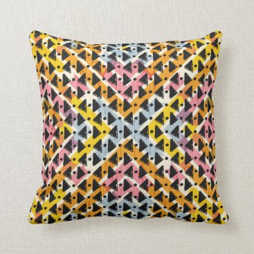 Aztec Themed Super cool modern open weave colorful design throw pillow