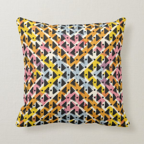 Super cool modern open weave colorful design throw pillow