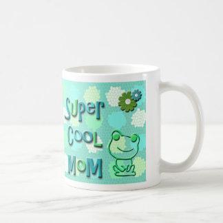 Super Cool Mom with Frog & Flowers Coffee Mug