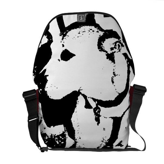 Super cool Monochromatic Pitbull dog graphic Courier Bag