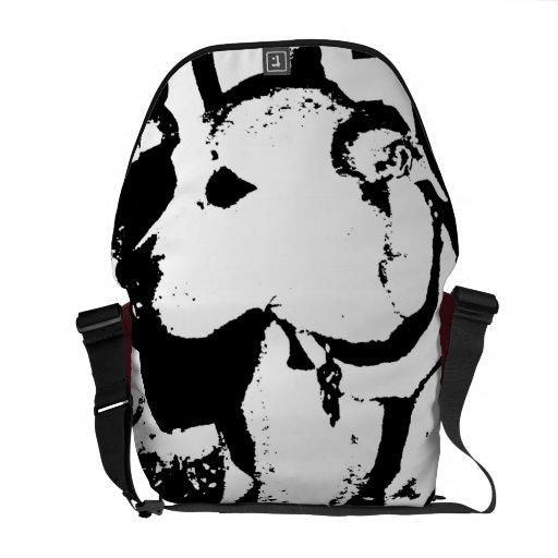 Super cool Monochromatic Pitbull dog graphic Messenger Bag