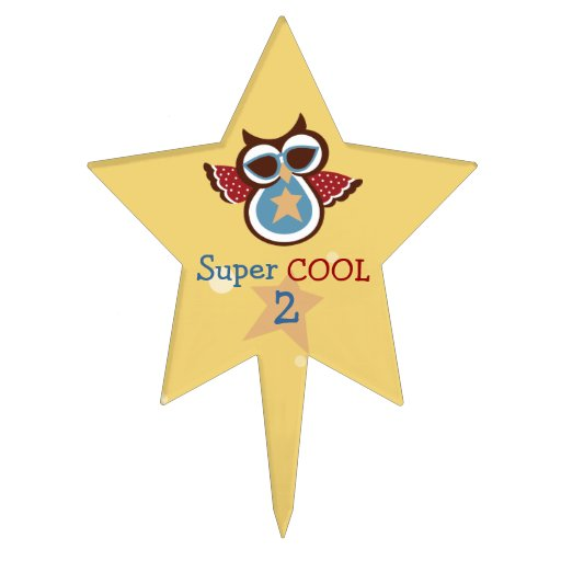Super COOL Owl Birthday Cake Topper