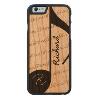 super-cool personalized black musical-note carved® cherry iPhone 6 case