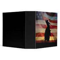 Super Cool Roping Cowboy and Flag 3 Ring Binder