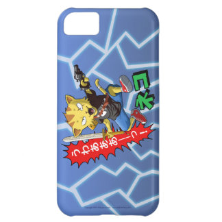 Super Cool Wild Cat Boy with Gun and Sword Case For iPhone 5C