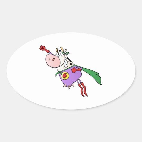 Super Cow Cartoon Oval Sticker