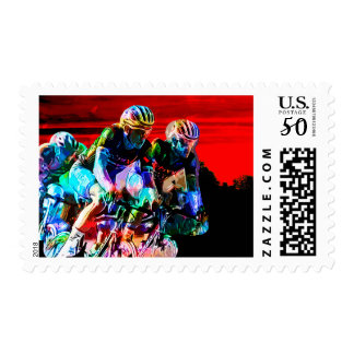 Super Crayon Colored Bicycle race Postage