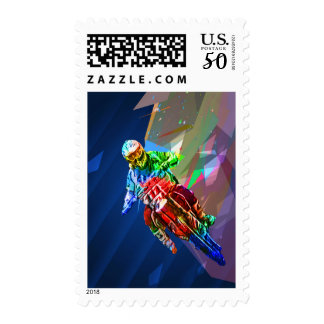 Super Crayon Colored Dirt Bike Leaning Into Curve Postage