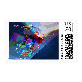 Super Crayon Colored Silhouette Skateboarder Postage