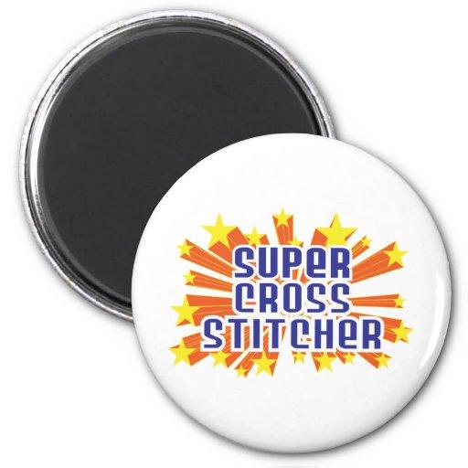 Super Cross Stitcher 2 Inch Round Magnet