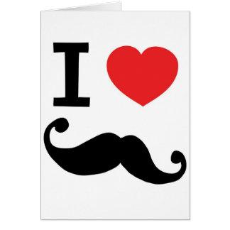 Super curly, twirly Moustache, I LOVE MOUSTACHE Card