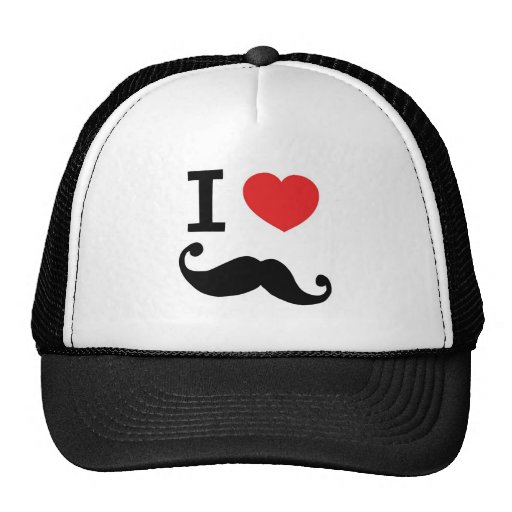 Super curly, twirly Moustache, I LOVE MOUSTACHE Hats