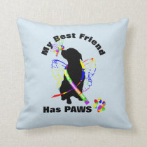 Super Cute Autism Awareness Support Dog Owners Throw Pillow