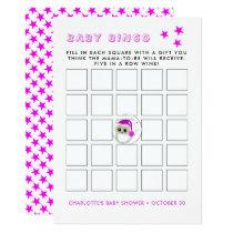 Super Cute Baby Snowy Owl Baby Shower Bingo Card