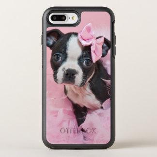 Super Cute Boston Terrier Puppy Wearing A Boa OtterBox Symmetry iPhone 8 Plus/7 Plus Case