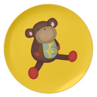 SUPER CUTE BROWN TOY MONKEY STUFFED ANIMALS HAPPY DINNER PLATES