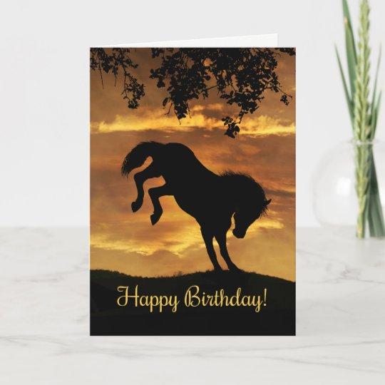 Super Cute Bucking Horse Birthday Card Zazzle