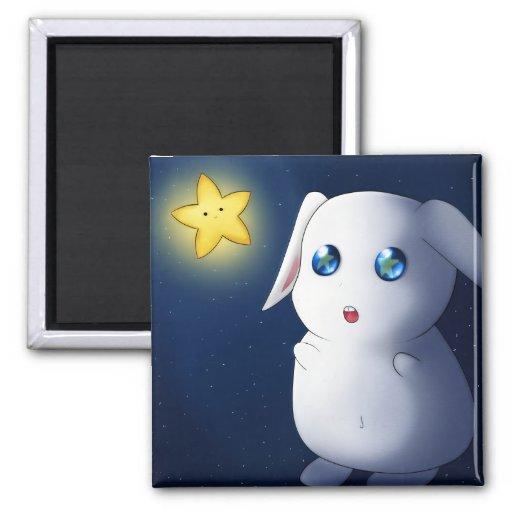 Super cute bunny rabbit catching stars fridge magnet