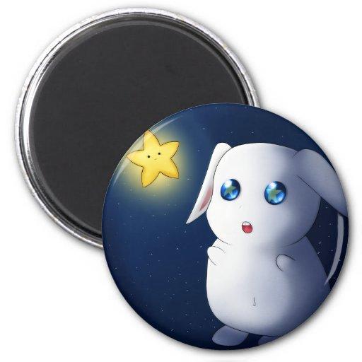 Super cute bunny rabbit catching stars refrigerator magnets