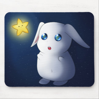 Super cute bunny rabbit catching stars mouse pad