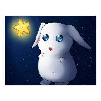 Super cute bunny rabbit catching stars postcard