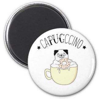 Super Cute CaPUGccino! Pugs & Coffee, what else? 2 Inch Round Magnet