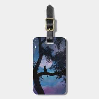Super Cute Cat and Moon Luggage Tag