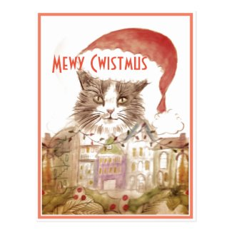Super Cute Cat Christmas Postcard