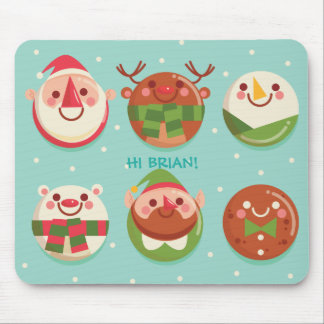 Super Cute Christmas Characters in balls Mousepad