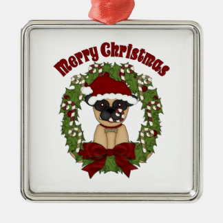 Super Cute Christmas Pug Wreath Metal Ornament