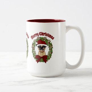 Super Cute Christmas Pug Wreath Two-Tone Coffee Mug