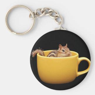 Super Cute Coffee Cup Chipmunk Keychain