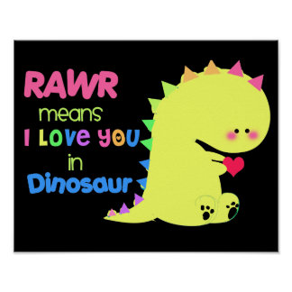 SUPER CUTE Dinosaur Poster BLACK RAWR small