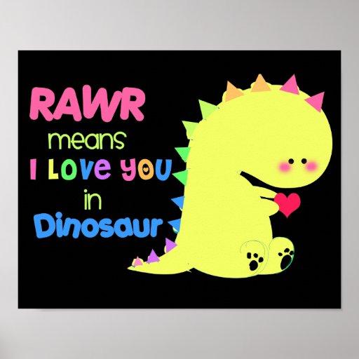 SUPER CUTE Dinosaur Poster BLACK RAWR small   Zazzle.com