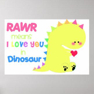 SUPER CUTE Dinosaur Poster RAWR