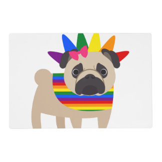 Super Cute Gay Pride Pug Placemat