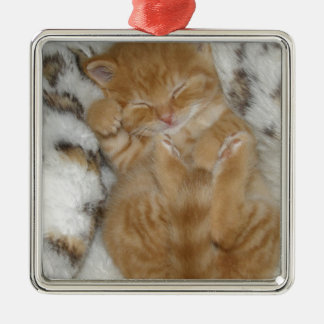 Super Cute Ginger Sleeping Kitten Metal Ornament