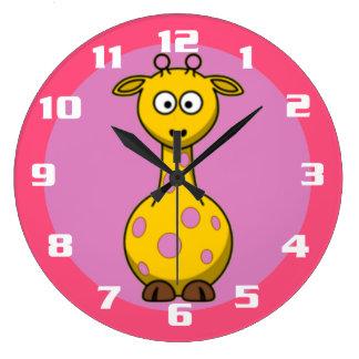 Super Cute Giraffe Bubble gum Pink kids room Large Clock