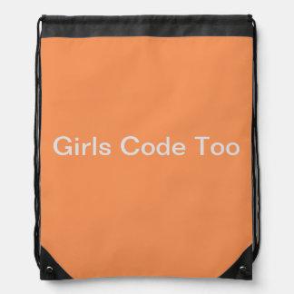Super Cute Girls Code Too Drawstring Backpack