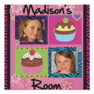 Super cute girls room  personalized photo posters! poster
