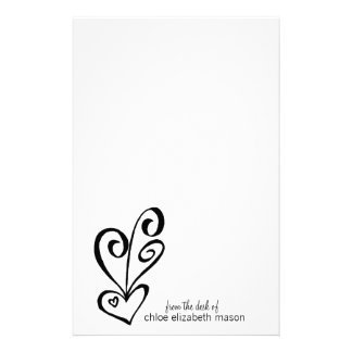 Super Cute Girly Girl Heart Doodles Stationery